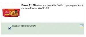 Aunt Jemima Frozen Waffles Coupon
