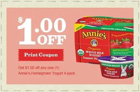 Annie's Homegrown Organic Yogurt 4pk Printable Coupon