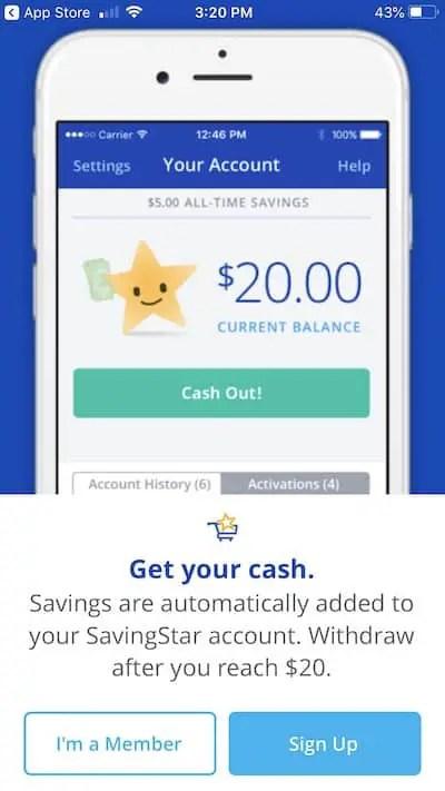 savingstar app coupon signup