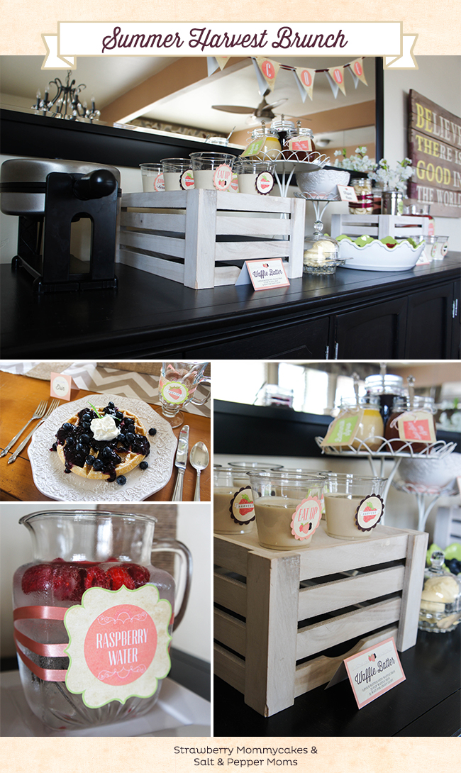 Summer Harvest Brunch by Strawberry Mommycakes and Salt and Pepper Moms #brunch #breakfastbar #wafflebar