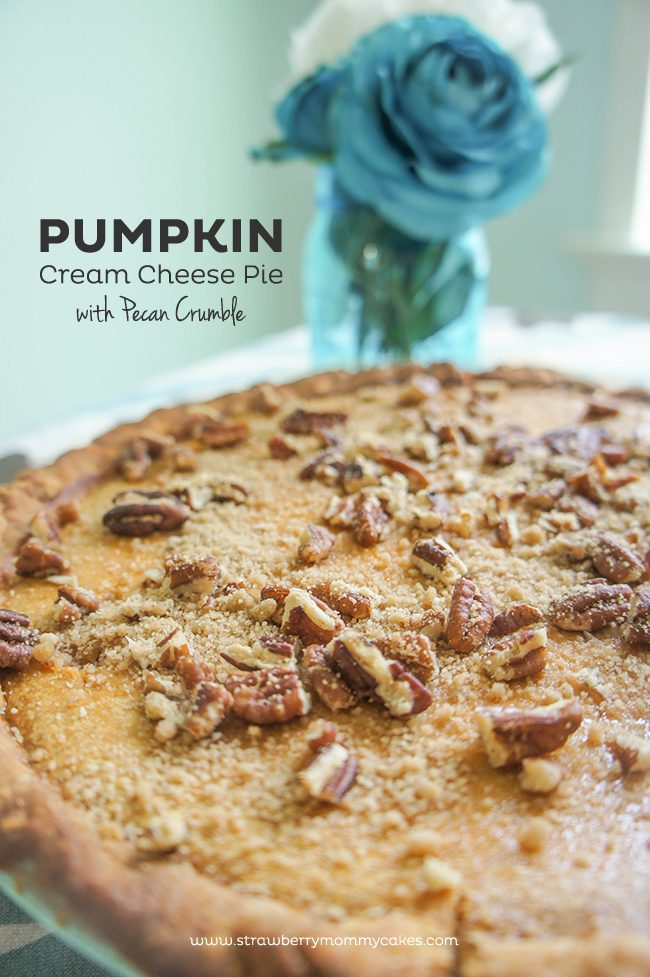Pumpkin Cream Cheese Pie with Pecan Crumble on www.strawberrymommycakes.com #pumpkinpierecipe #fallrecipe #pumpkin