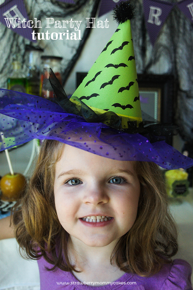 Witch Party Hat Tutorial on www.strawberrymommycakes.com #partyhat #halloweenparty