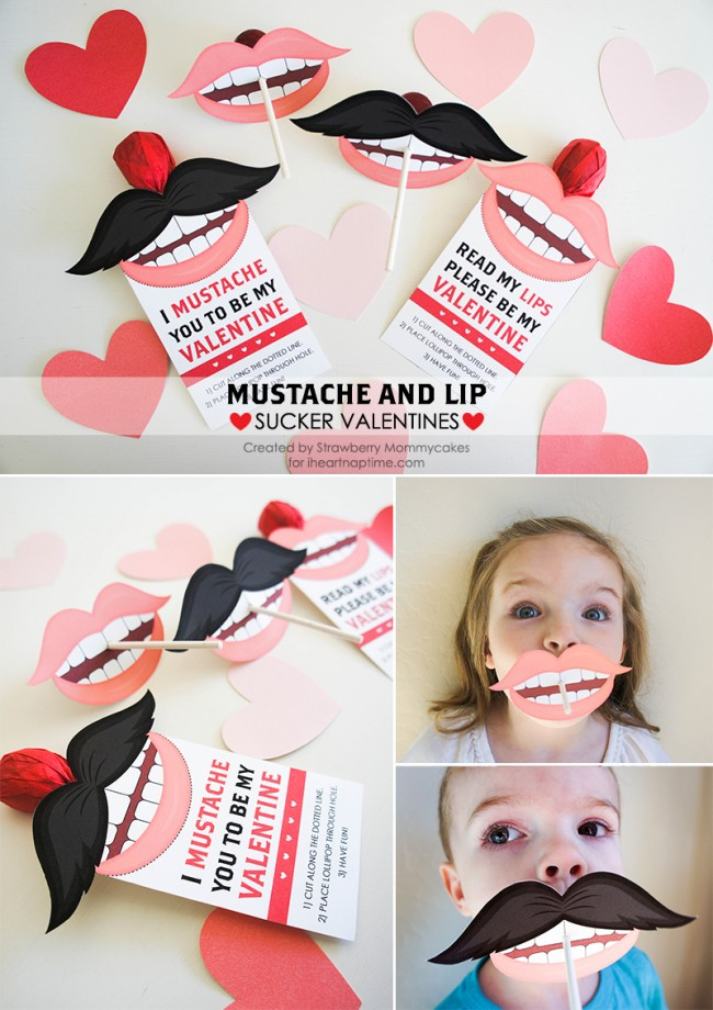 Funny Mustache and Lips Sucker Valentine on www.strawberrymommycakes.com #valentine #funnyvalentine #photoprop