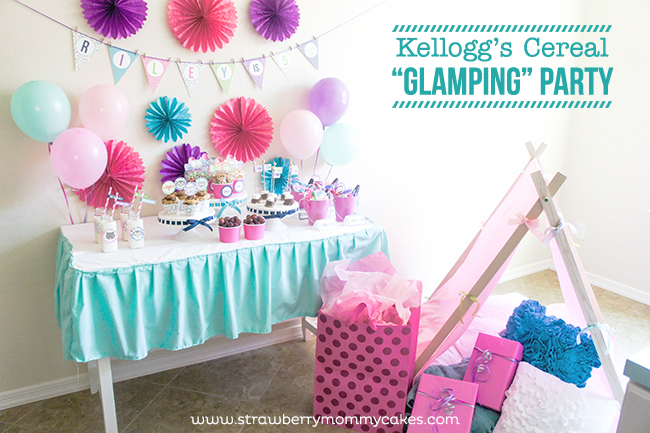 """Kellogg's Cereal """"Glamping"""" Party on www.strawberrymommycakes.com #goodnightsnack  #shop  #glampingparty"""