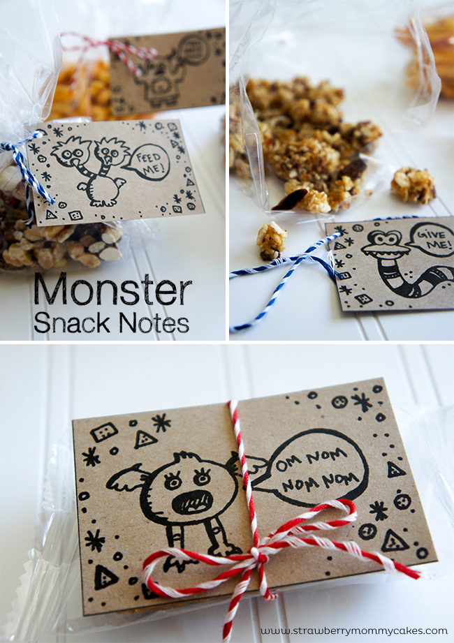 Monster Lunch Notes on www.strawberrymommycakes.com #natureboxsnacks #CleverGirls