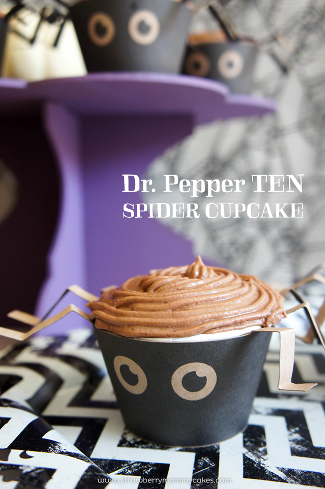 Dr Pepper 10 Spider Cupcakes on www.strawberrymommycakes.com #drinkTEN #CollectiveBias #shop