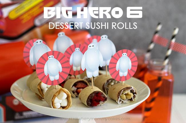 Dessert Sushi Rolls on white plate
