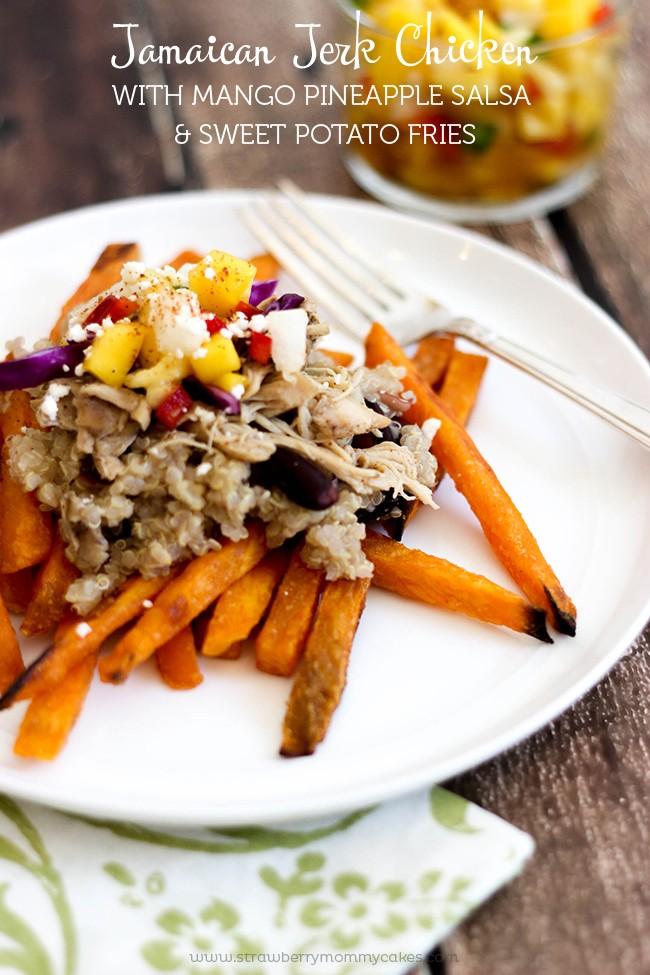 Jamaican Jerk Chicken with Mango Pineapple Salsa & Sweet Potato Fries