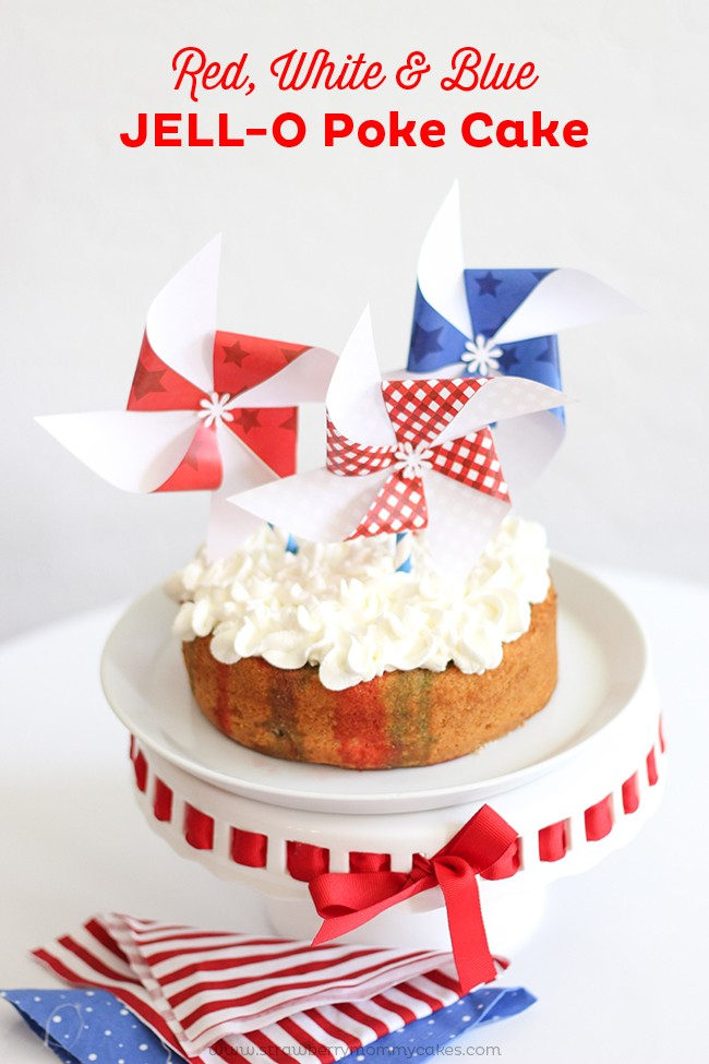 This Red, White and Blue Jell-O Poke Cake is so delicious and pretty!