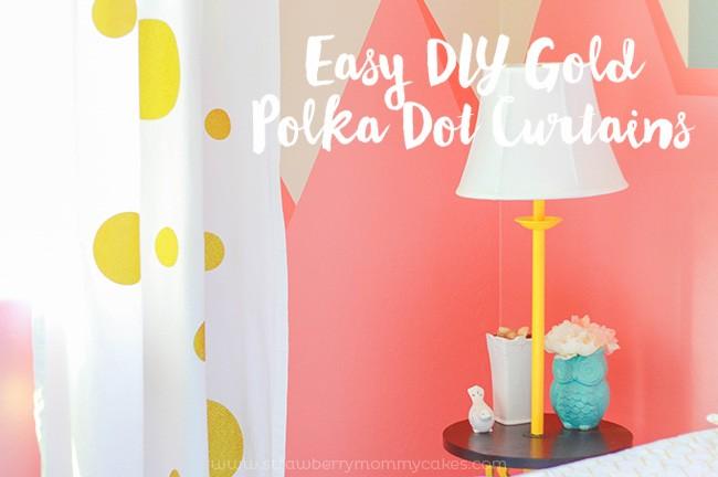 Easy DIY Gold Polka Dot Curtains