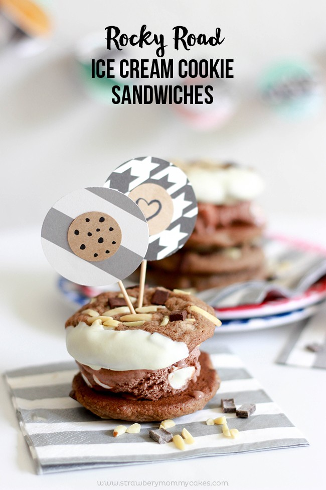 These Rocky Road Ice Cream Cookie Sandwiches are the best ice cream sandwiches!
