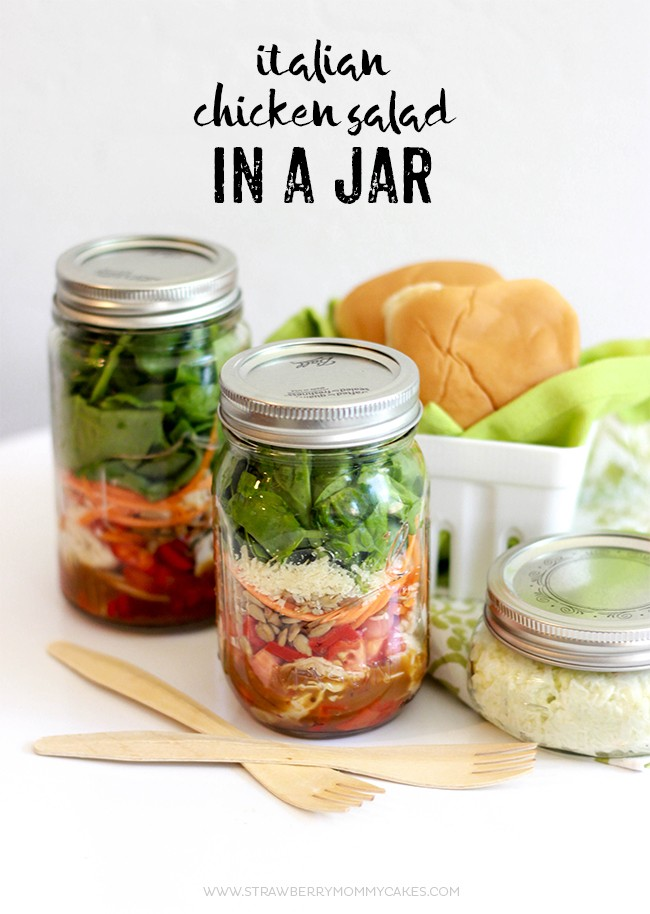 This easy Italian Chicken Salad in a Jar Recipe can help keep your fridge stocked all week! Prepare a few on Sunday and you're good to go!