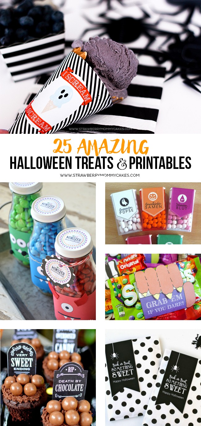 Today I have rounded up 25 AMAZING Halloween Treats and Printables! In the collection I have delicious homemade treats and printables to pair with store bought candy to make it fast an easy!