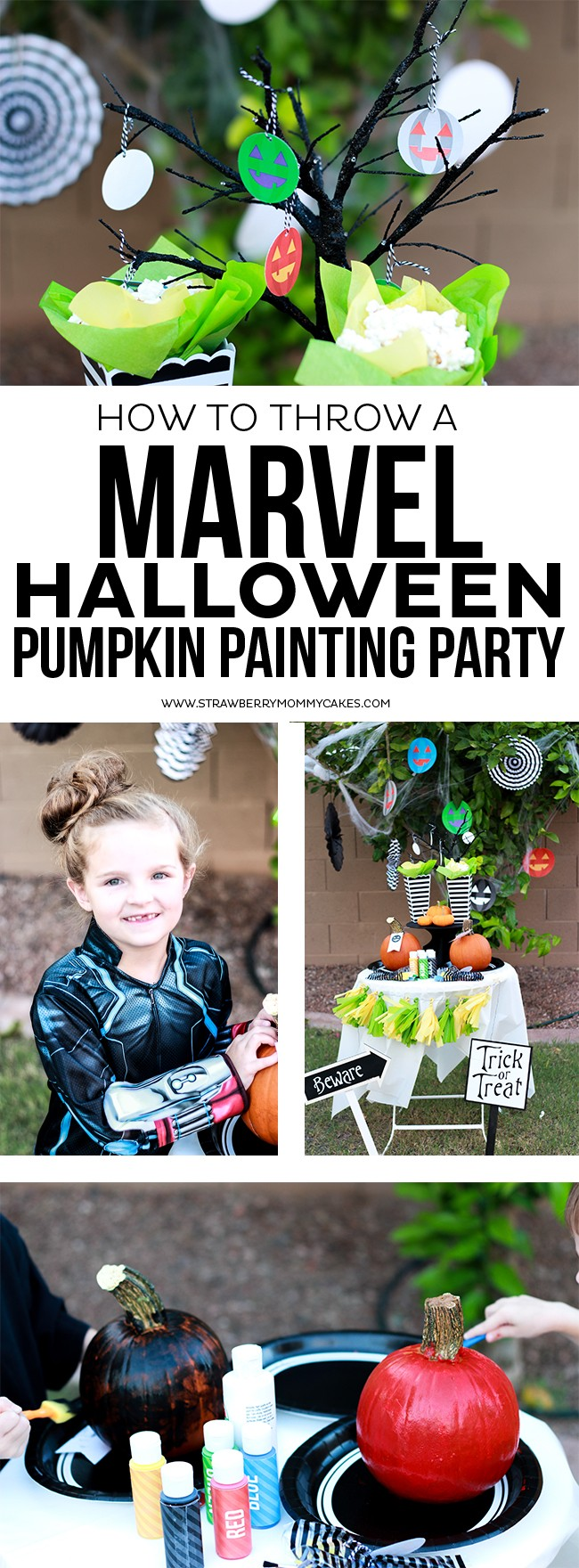 Learn How to throw a MARVEL Halloween Pumpkin Painting Party for a fun and creative activity with your kids!