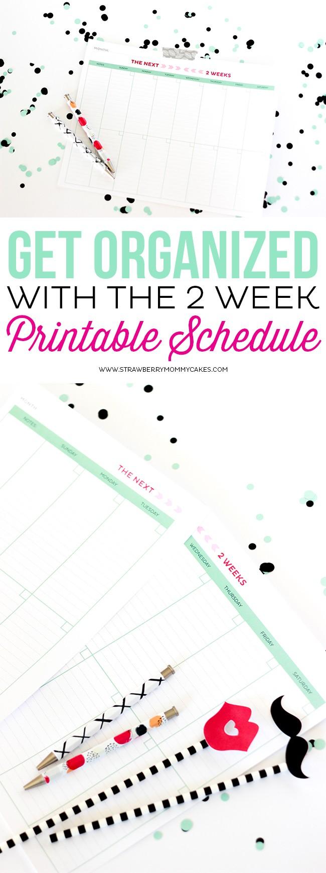 Printable weekly calendar long collage