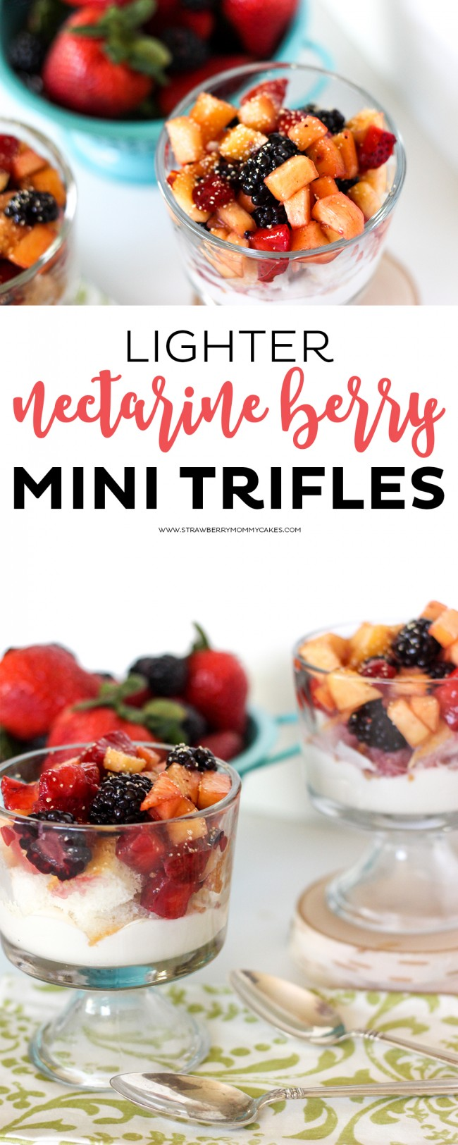 These Nectarine Berry Mini Trifles are AMAZING! Just a couple tweaks to the recipe make it lighter than most trifle desserts!