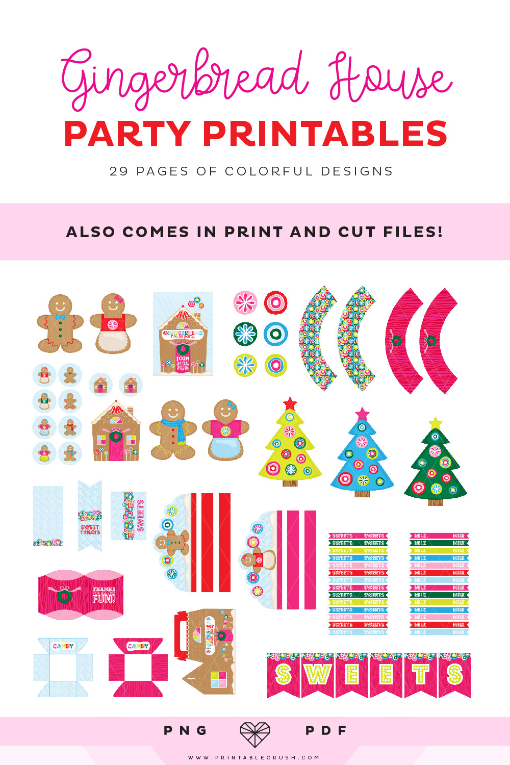 These Gingerbread Party Printables are the CUTEST! Includes 29 pages of cupcake toppers, treat boxes, invitations, and more. You can also upload these to Cricut Design Space and use the print and cut feature!