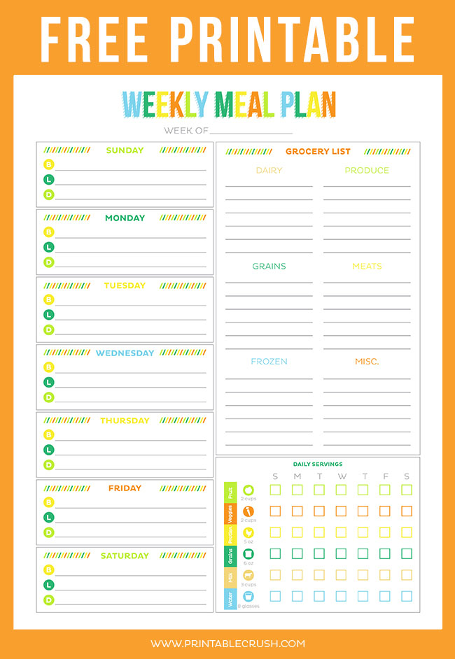 picture relating to Free Printable Meal Planner Template identified as Totally free Printable Weekly Evening meal Planner - Printable Crush