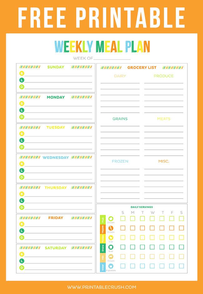 graphic regarding Weekly Meal Plan Printable known as Totally free Printable Weekly Supper Planner - Printable Crush