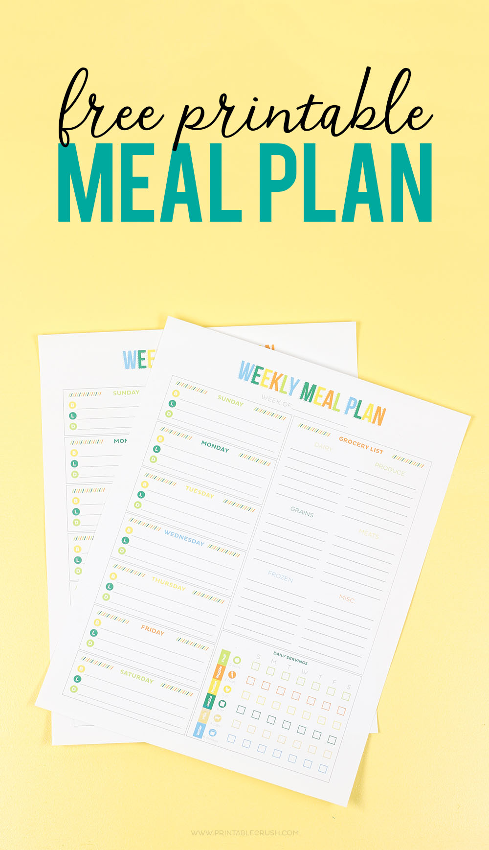 photograph regarding Weekly Meal Planner Printable named No cost Printable Weekly Dinner Planner - Printable Crush