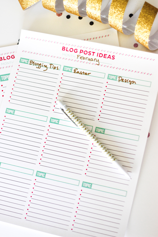 Brainstorm Blog Post Ideas with this FREE Printable Worksheet