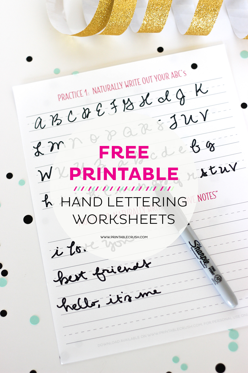 image relating to Lettering Printable titled 3 Cost-free Hand Lettering Worksheets for Newcomers - Printable Crush