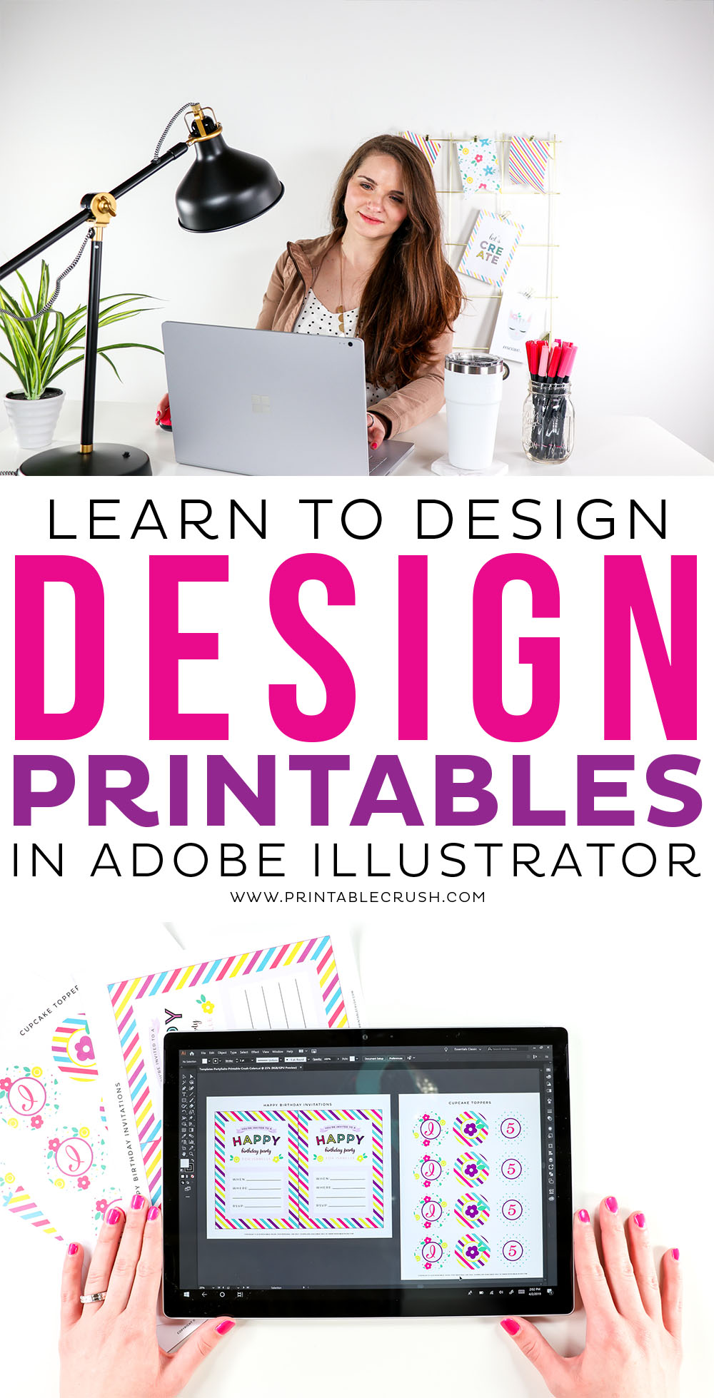 Feeling overwhelmed with learning a new design software? See how you can learn to design Printables in Adobe Illustrator! #printabledesignforbeginners #printabledesign #printables #entrepreneur #digitalproducts via @printablecrush