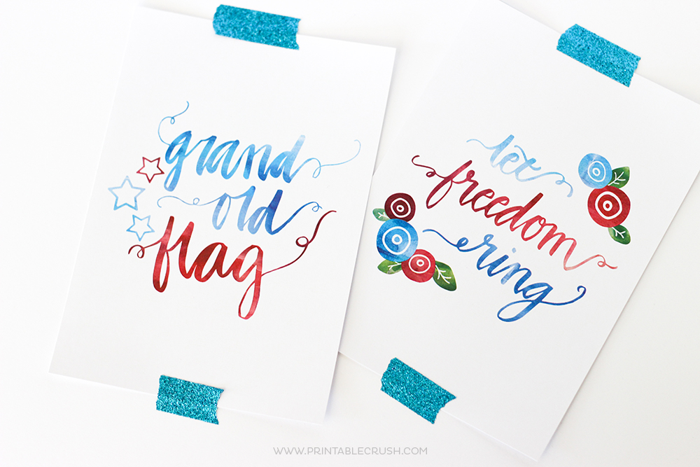 These pretty Hand Lettered Fourth of July Wall Art Prints will go great with your patriotic decor!
