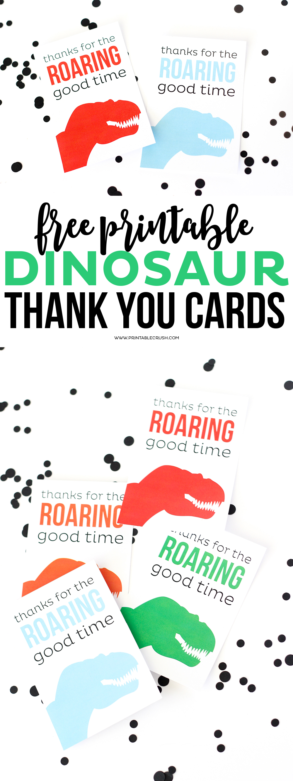 Dinosaur thank you cards free printables long pin collage