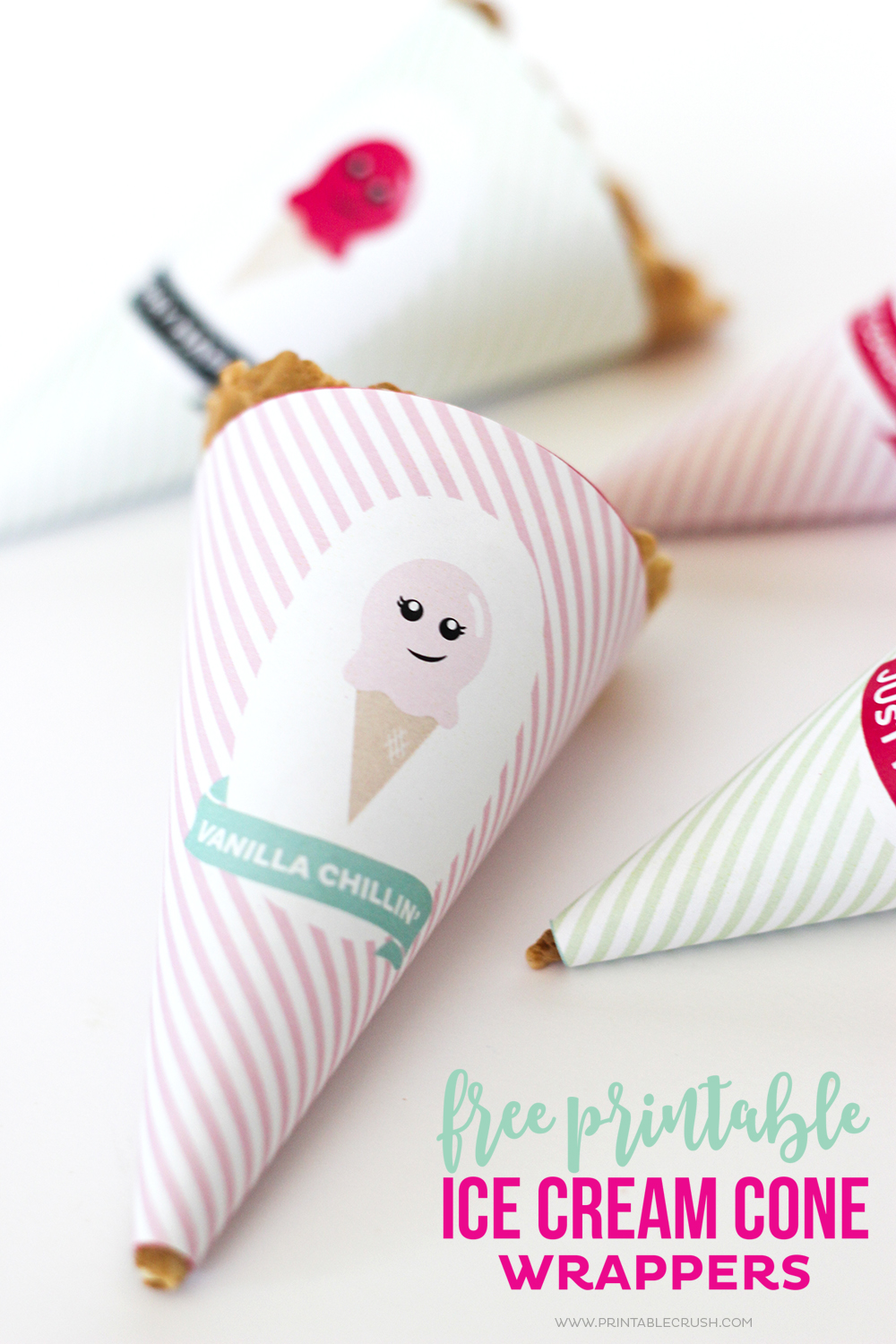 These Printable Ice Cream Cone Wrappers are super cute and easy to make! These have sayings that go with peach, vanilla, berry, and mint flavored ice cream!
