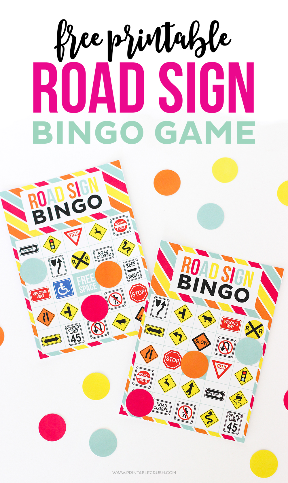 Keep the kids busy in the car with this FREE Printable Road Sign Bingo Game. This goes perfectly with the Ultimate Road Trip Printable Set!!