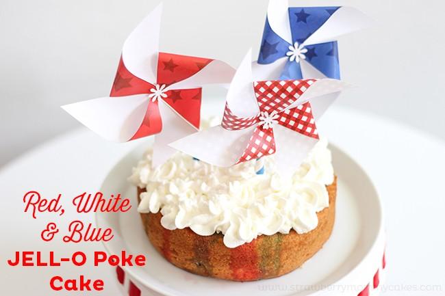 Red, White and Blue Jello Poke Cake