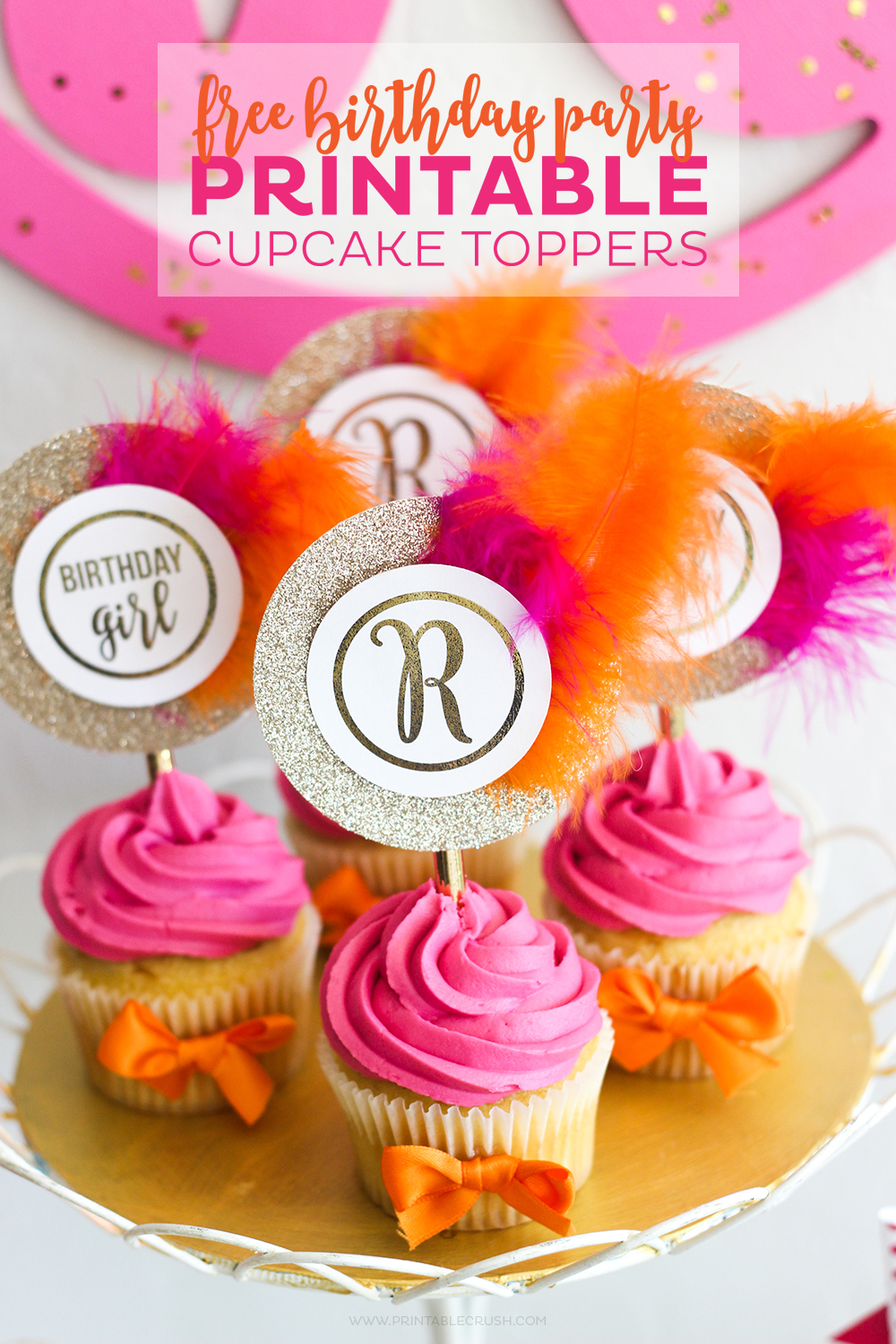 graphic about Printable Cupcakes Toppers identified as No cost Monogram Printable Cupcake Toppers - Printable Crush