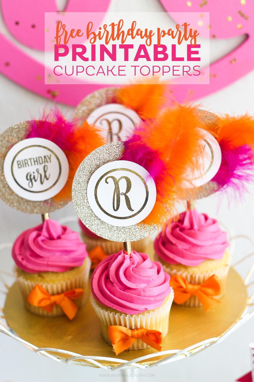 photograph regarding Printable Cupcake Toppers named Cost-free Monogram Printable Cupcake Toppers - Printable Crush