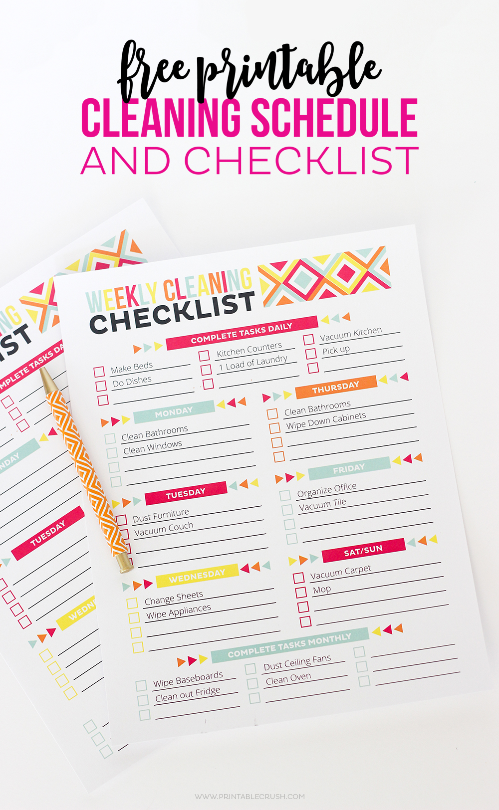 picture about Printable Household Chore List identified as Cost-free Printable Cleansing Plan and List - Printable Crush