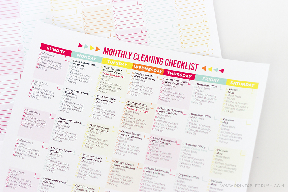 photograph relating to Printable Bathroom Cleaning Checklist referred to as Free of charge Printable Cleansing Timetable and Record - Printable Crush