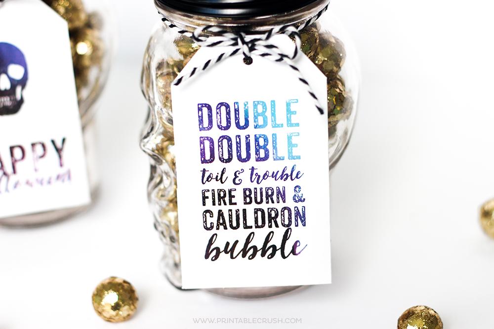 Printable Halloween Gift Card Holders on glass jars