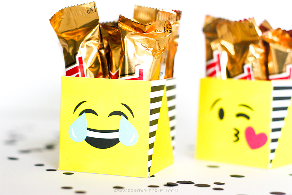 Close up od laugh/crying emoji gift boxes perfect for emoji gifts
