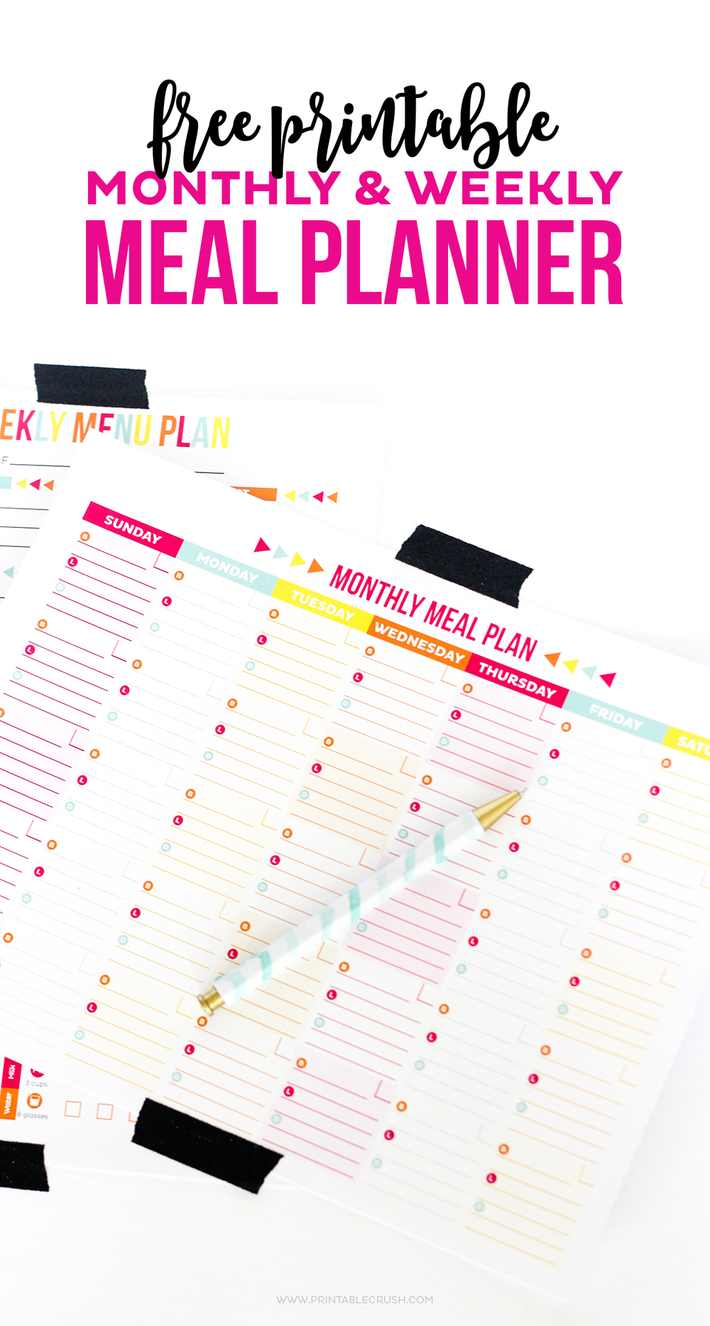Use this FREE Printable Meal Planner to keep track of your menu plan and health goals! Includes printables for monthly and weekly tracking!