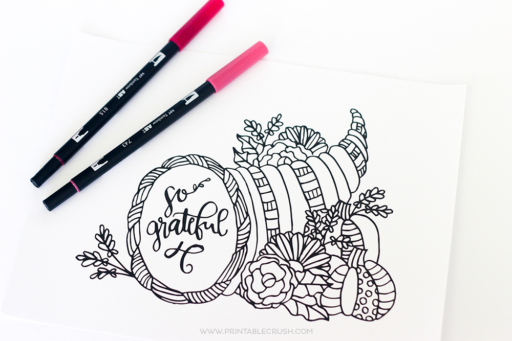 Thanksgiving Coloring Pages Horizontal Pic