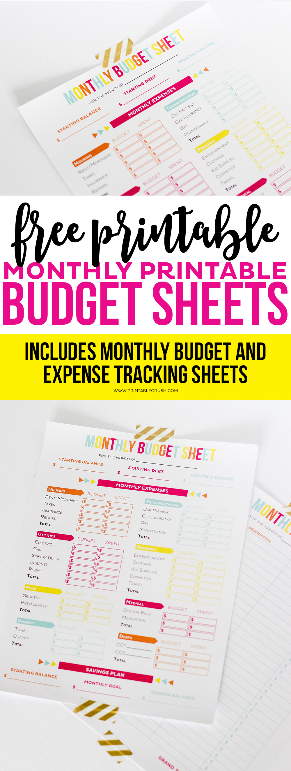 budget sheet long pin collage