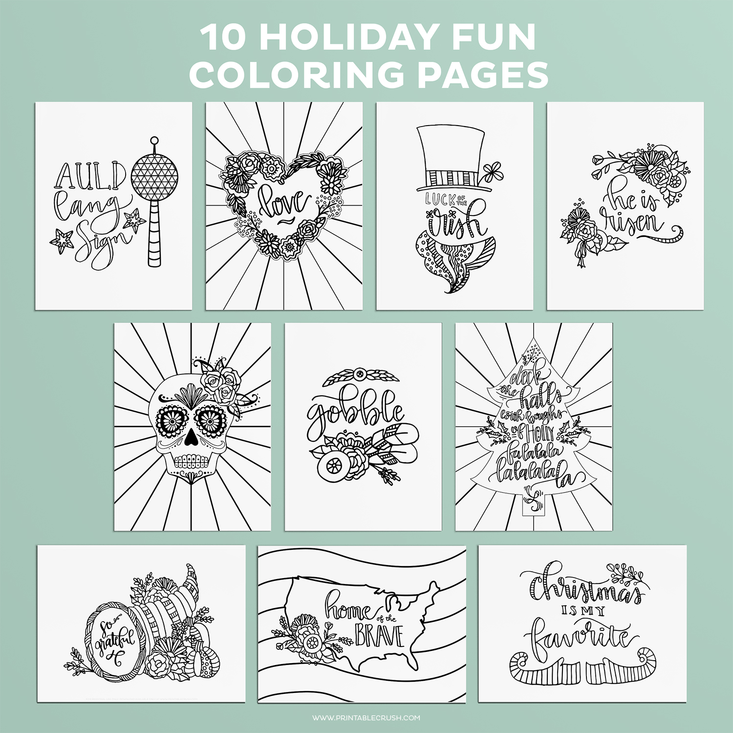 Thanksgiving coloring pages and other holidays against teal background
