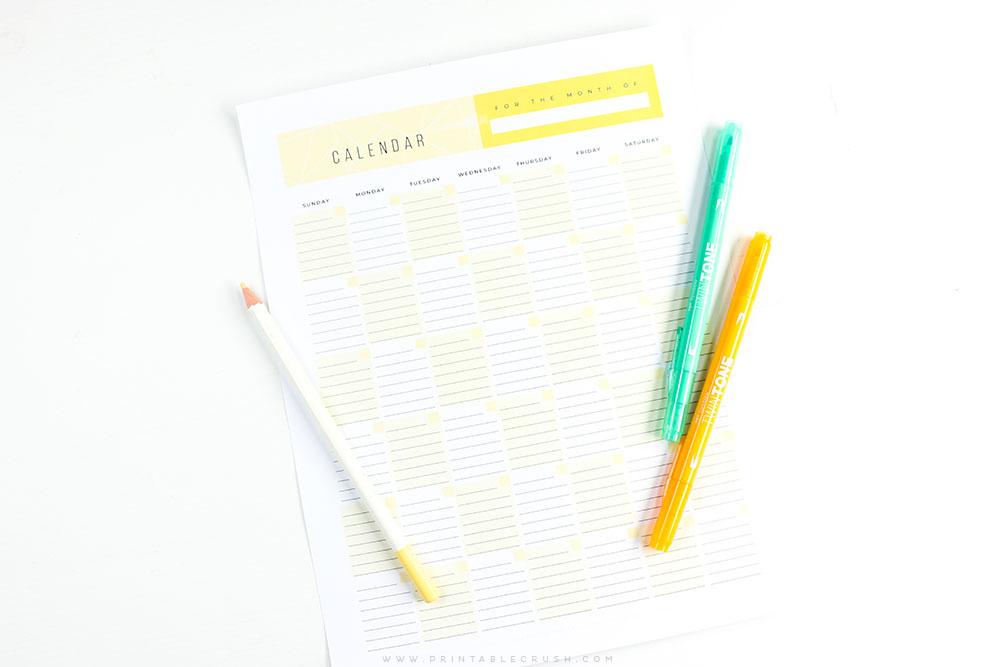 FREE Printable Monthly Calendar