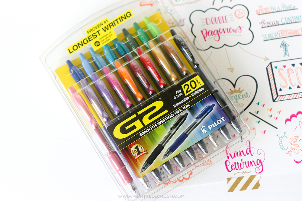Colorful pens on top of filled out goal setting worksheet
