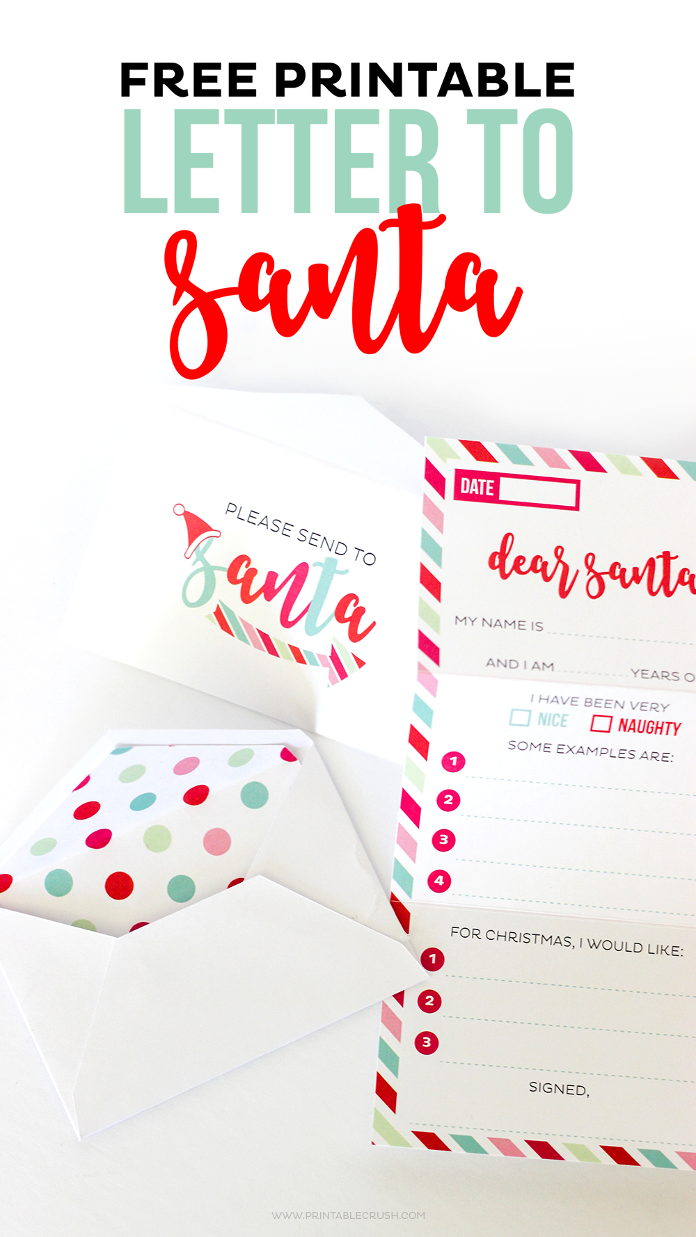 This Adorable FREE Santa Letter Printable Set Includes A Tri Fold Letter,  Envelope,