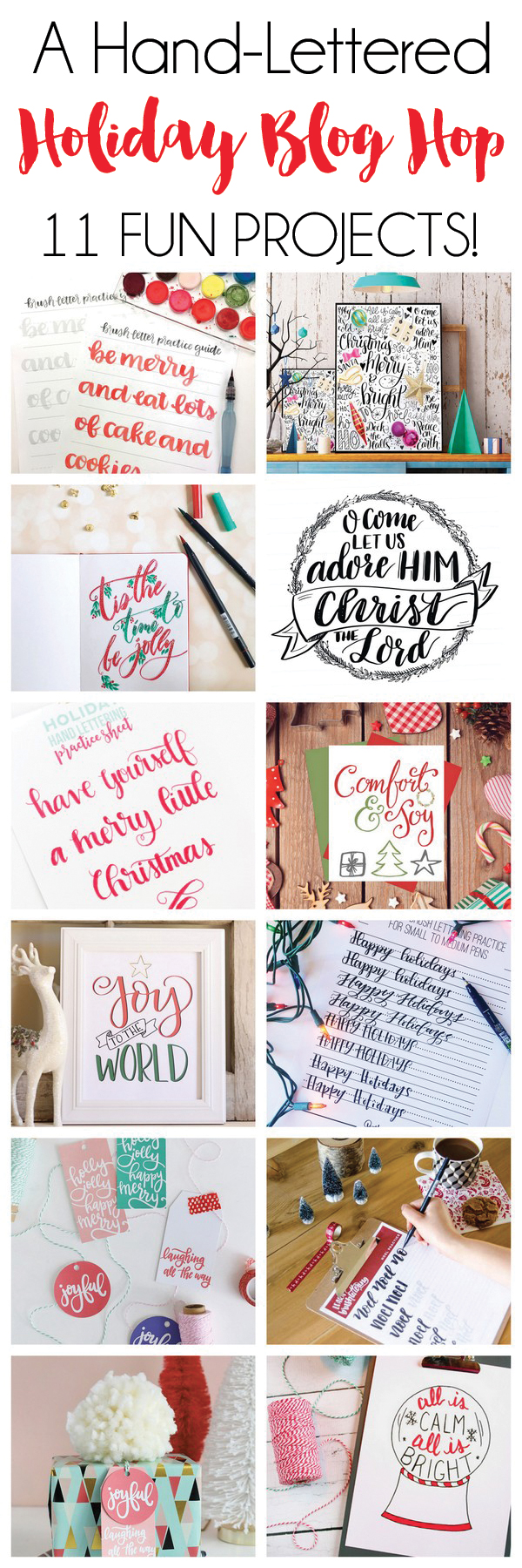 A Hand-Lettered Holiday Blog Hop! 11 fun projects to practice your hand lettering this holiday season.
