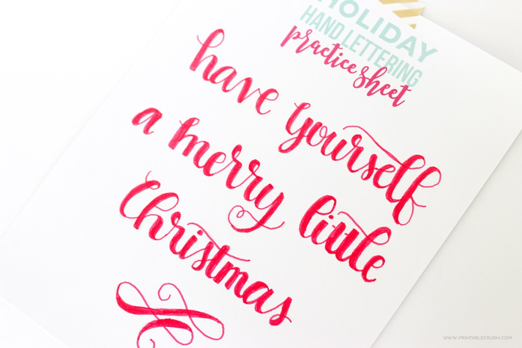 Download these FREE Printable Christmas Hand Lettering Practice Sheets will help you create the perfect hand lettered art work this holiday season!