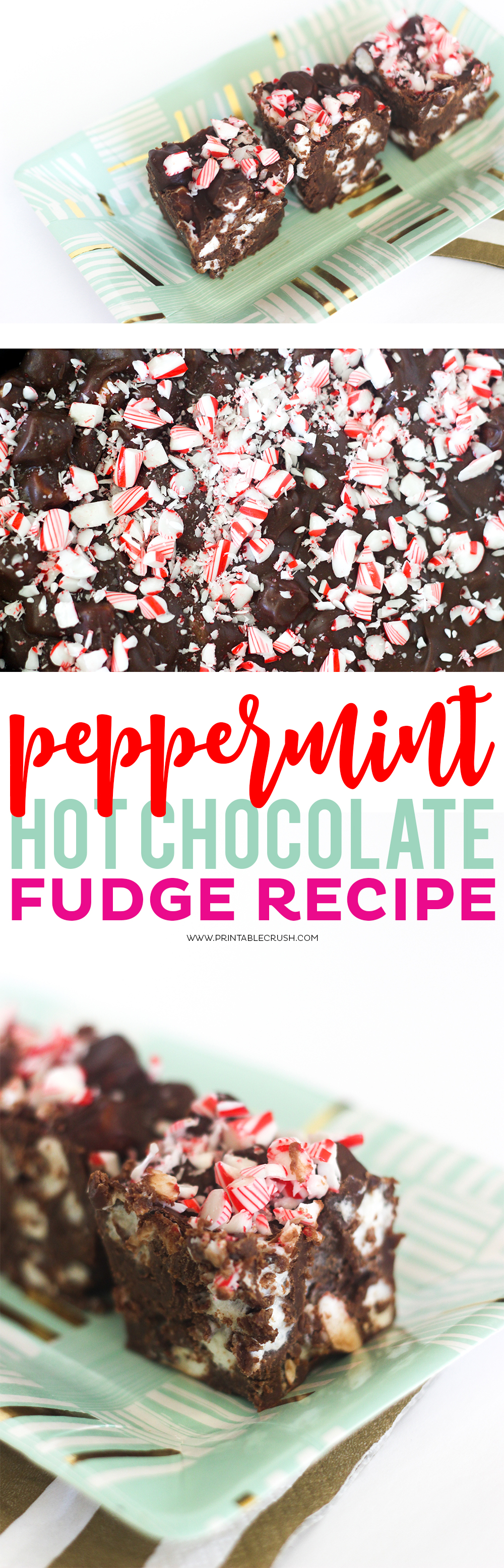 This Peppermint Hot Chocolate Fudge recipe just SCREAMS Christmas time! You'll love the rich dark chocolate fudge, tasty marshmallows, and sweet peppermint combination!