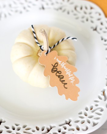 Download these pretty Thanksgiving Leaf Place Card Printables to create a beautiful place setting for your guests!
