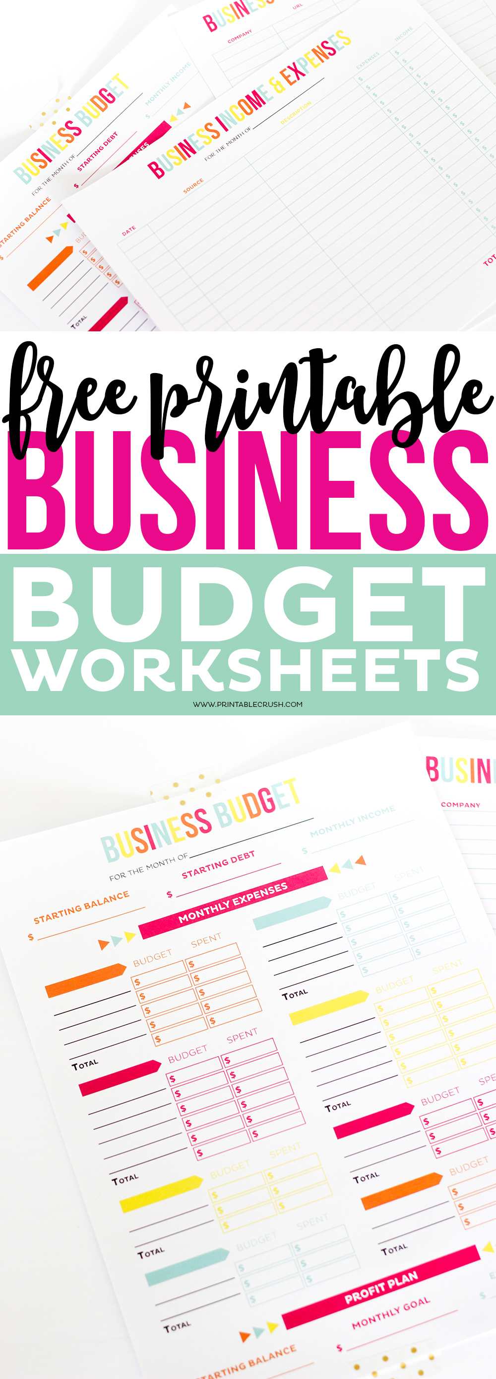 Make tax time a little less so with these FREE Printable Business Budget Worksheets! Includes expense and income track sheet, budget sheet, and a bonus password tracker for your online business accounts!